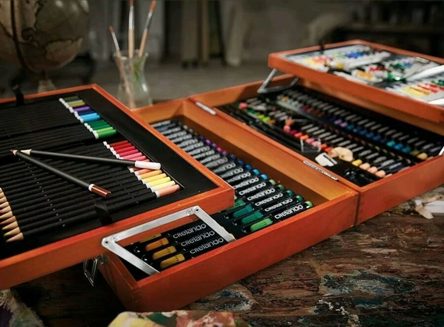 Crelando Artists Paint Box 174 Piece Set Paints Pencils