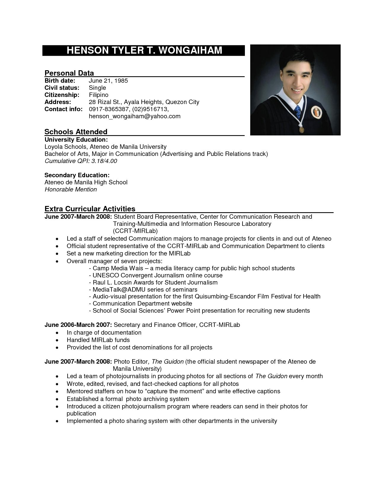 Standard Resume Format Marvellous Resume Sample Format Formal Training And Official