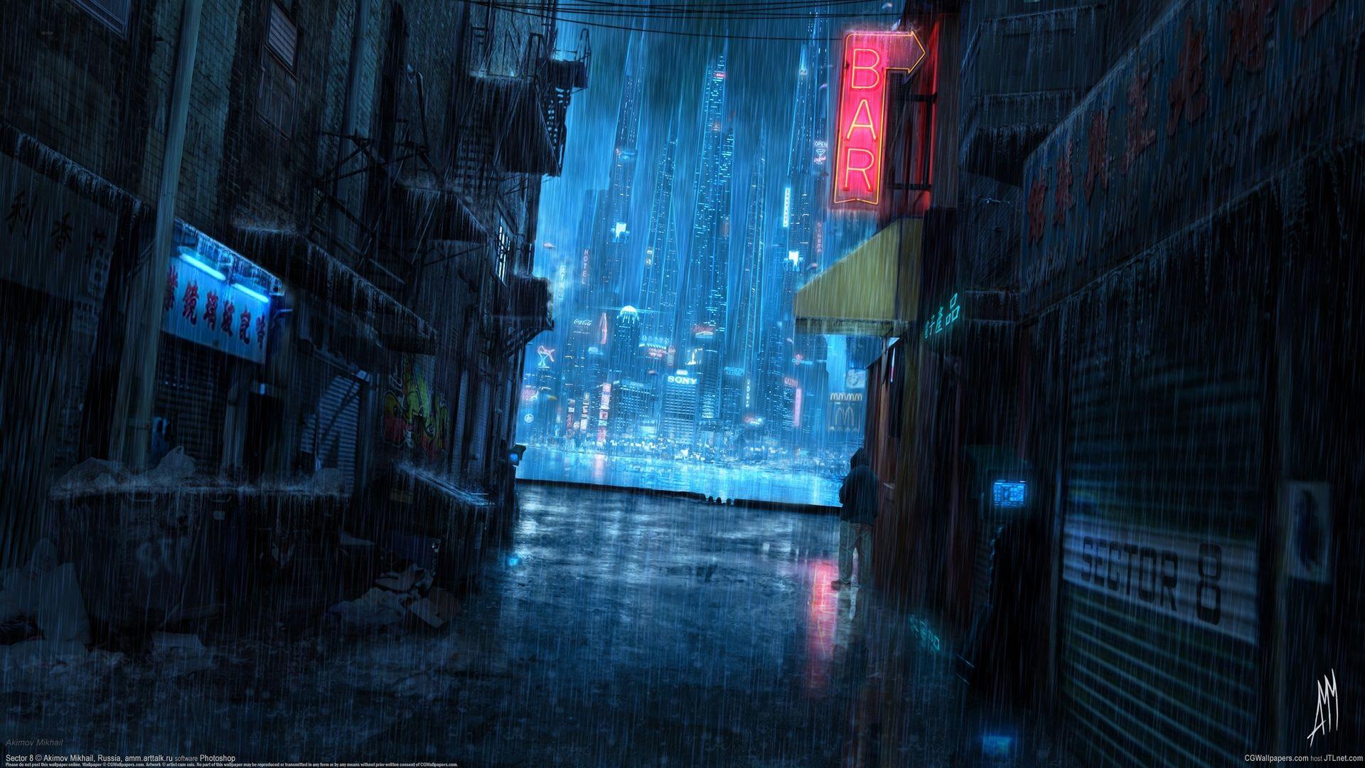 Patreon Anime Scenery Wallpaper Anime Scenery Rainy City Futuristic anime wallpaper 1920x1080