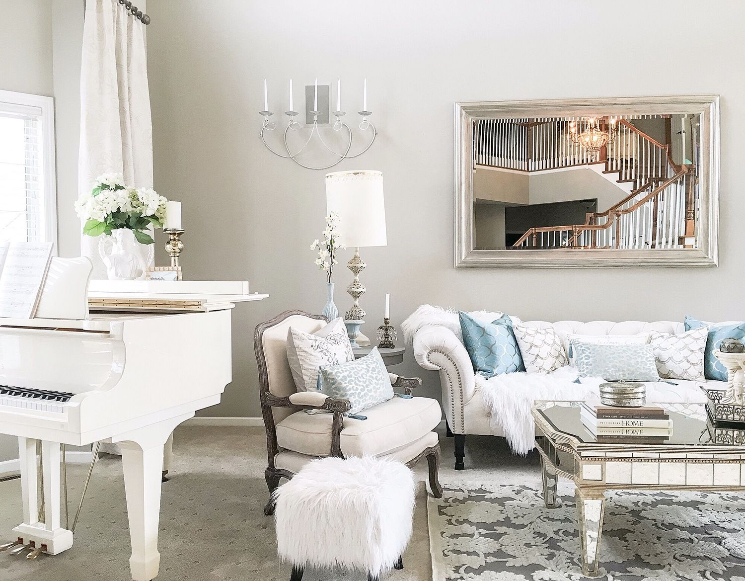 White On White Living Room White Baby Grand Piano In Living Room Living Rooms In