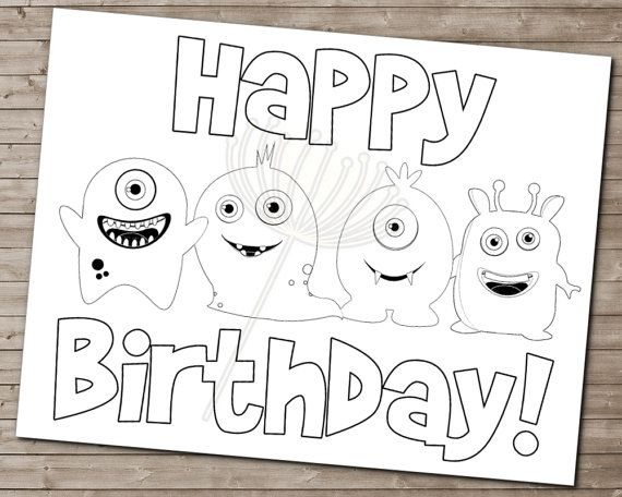 LITTLE MONSTER Coloring Page for Birthday Party by DandeAve, $500 - copy elmo coloring pages birthday