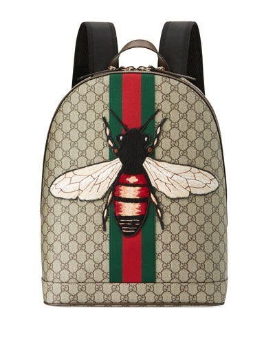 283de938f406 N41UM Gucci Men s Web Animalier Backpack with Bee