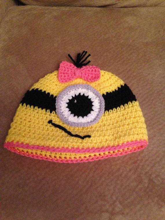 Crochet Minion Hat on Etsy, $19.99 | Crochet | Pinterest | Gorros ...