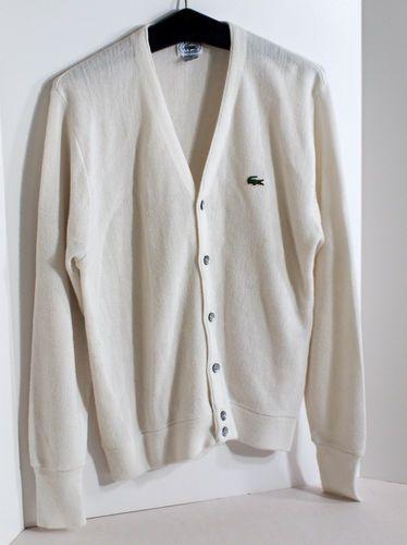 Izod Lacoste Mens Off White Ecru Orlon Acrylic Cardigan Sweater ...