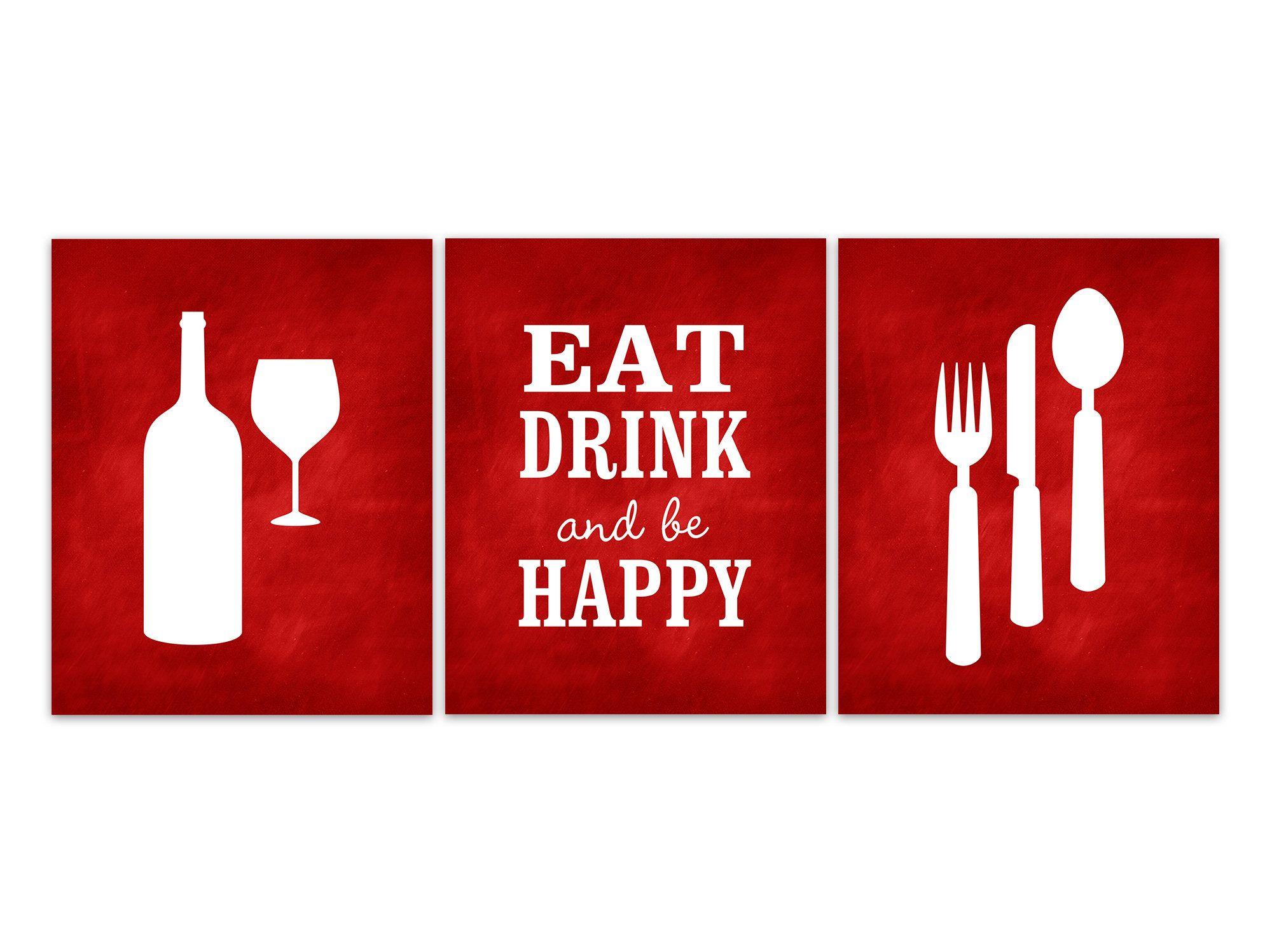 Red Dining Room Decor Eat Drink Be Happy Dining Room Quote Etsy Kitchen Canvas Art Red Kitchen Decor Kitchen Art Prints
