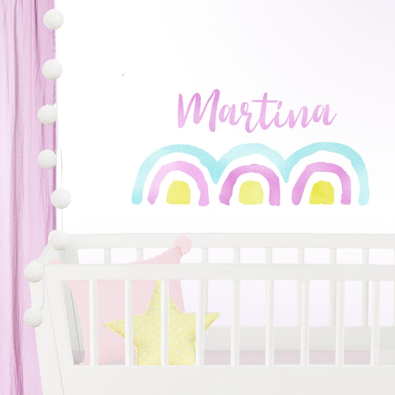 Vinilo Infantil Nombre Niña Arcoiris Rosa Amarillo Y Mint