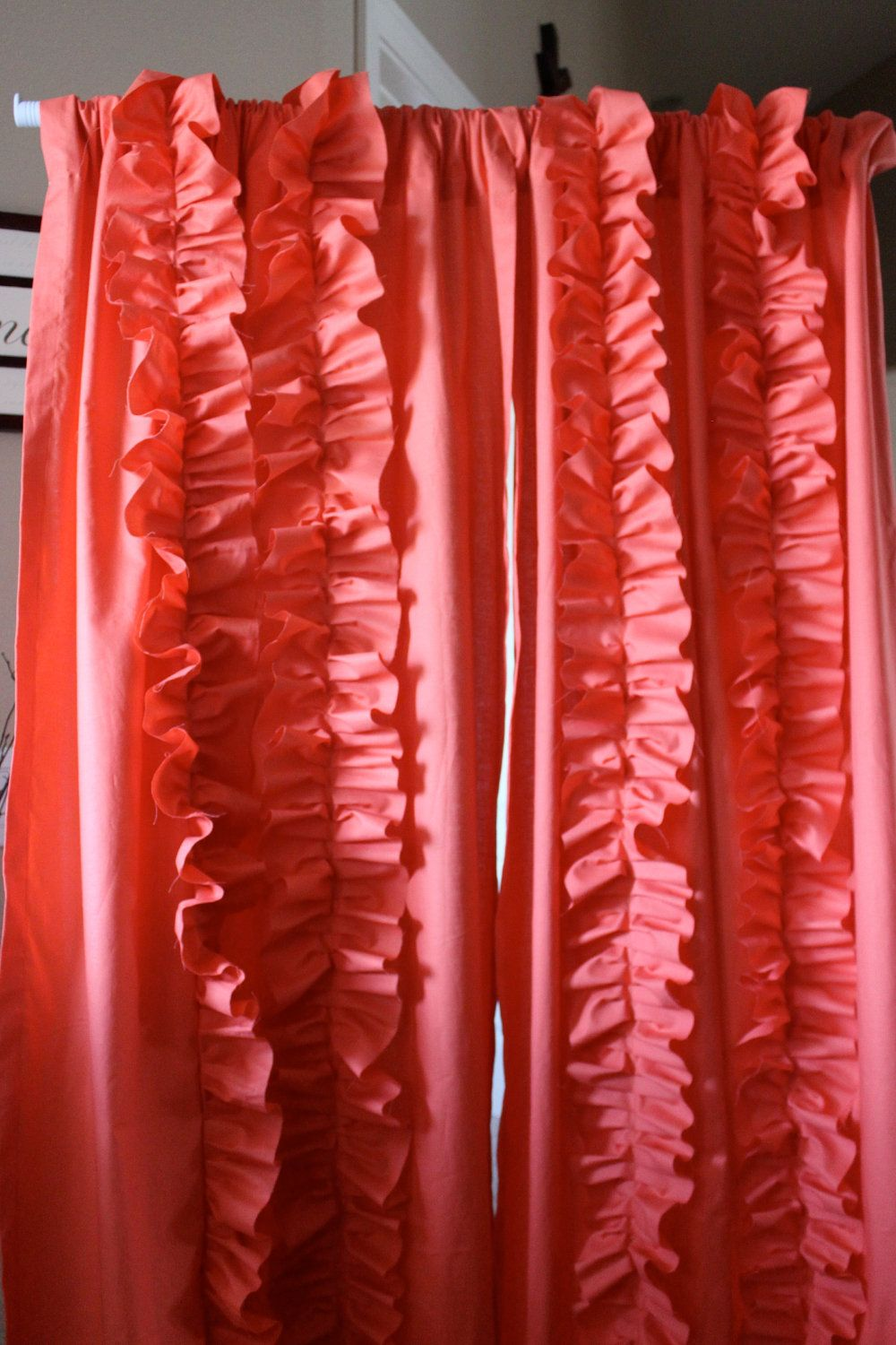 Falling Ruffle Coral Curtain by SelahJamesHandmade on Etsy, $200.00
