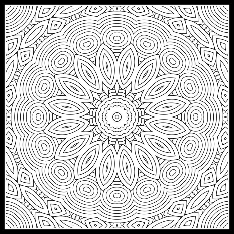 Mandala Difficile Da Colore Disegni Di Petali Figure Forme Geometriche Mandala Simboli Magici Disegno Di Mandala
