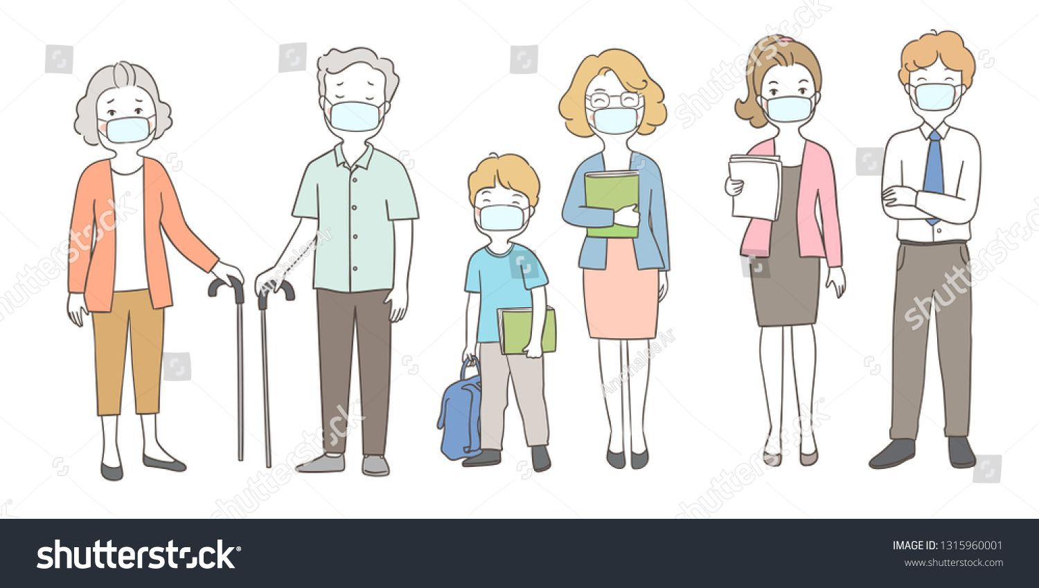 Draw Vector Illustration People Wearing Mask Protect From Pm2 5