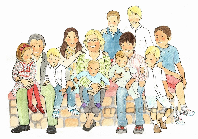 Com.detalls Dibujo Personalizado De Unos Abuelos Y Sus