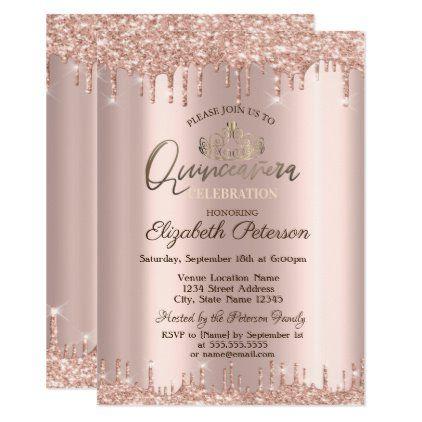 Tiara,Rose Gold Glitter Drops Quinceañera Invitation | Zazzle.com