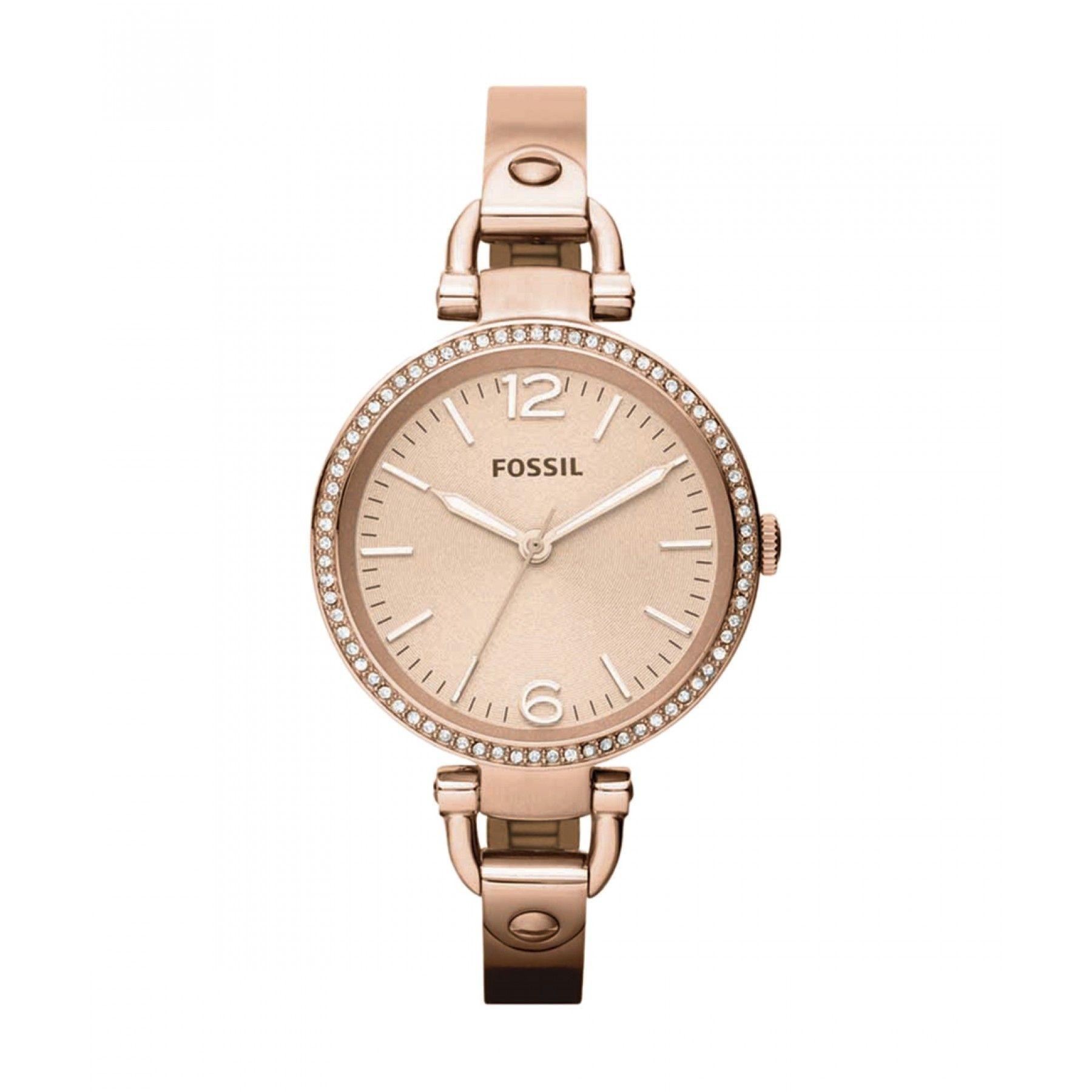 69d041428299 Reloj para dama con caja y corona de acero inoxidable en tono oro rosado  bisel con incrustaciones en finos cristales.