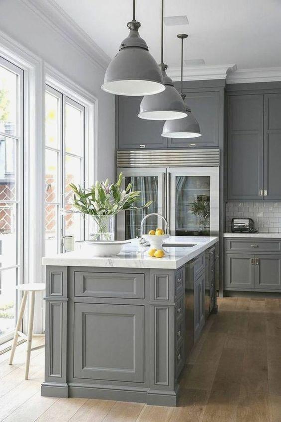 30 Cool Gray Kitchen Ideas 2020 For Stylish Kitchen Dovenda Grey Kitchen Designs Kitchen Cabinet Design Kitchen Layout