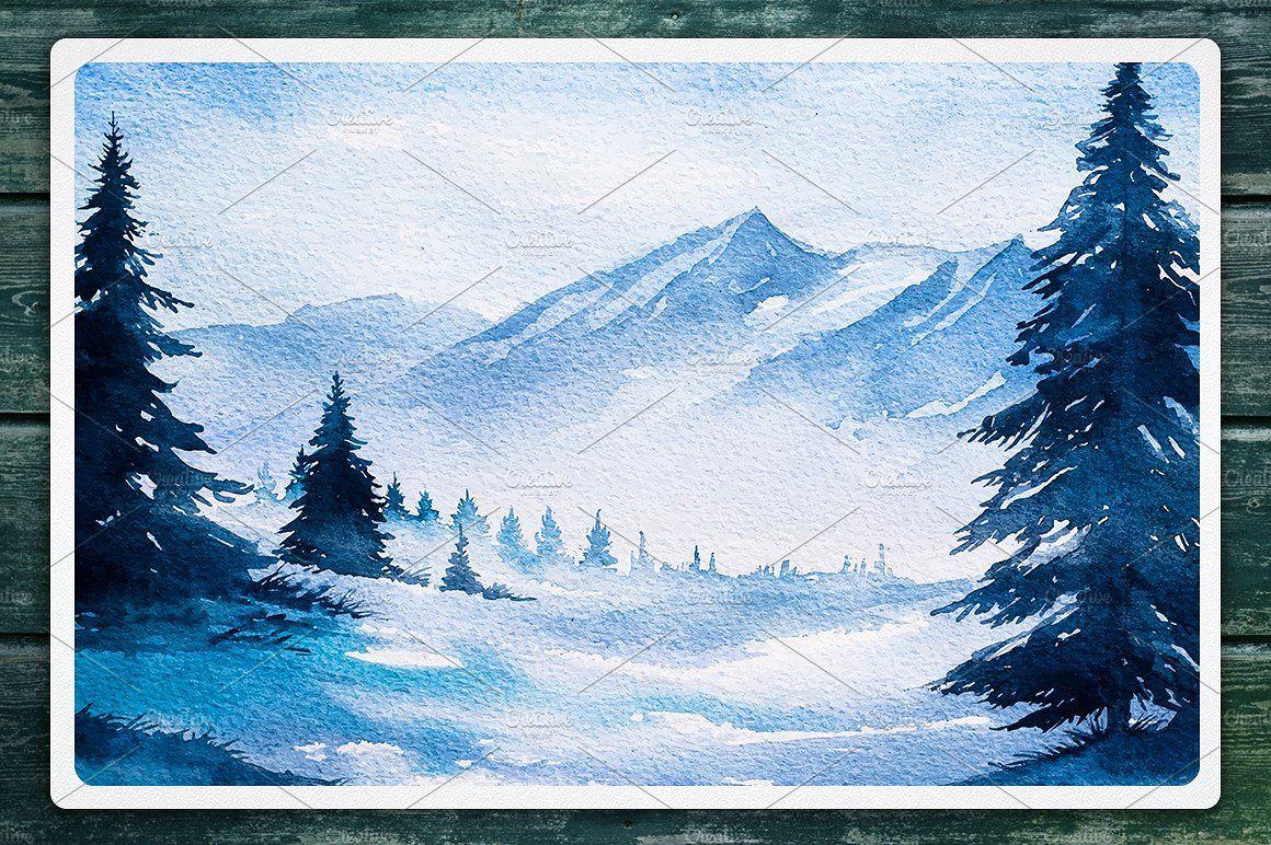Winter Landscapes Set 2 Watercolor Suluboya Sanati Suluboya Sanat