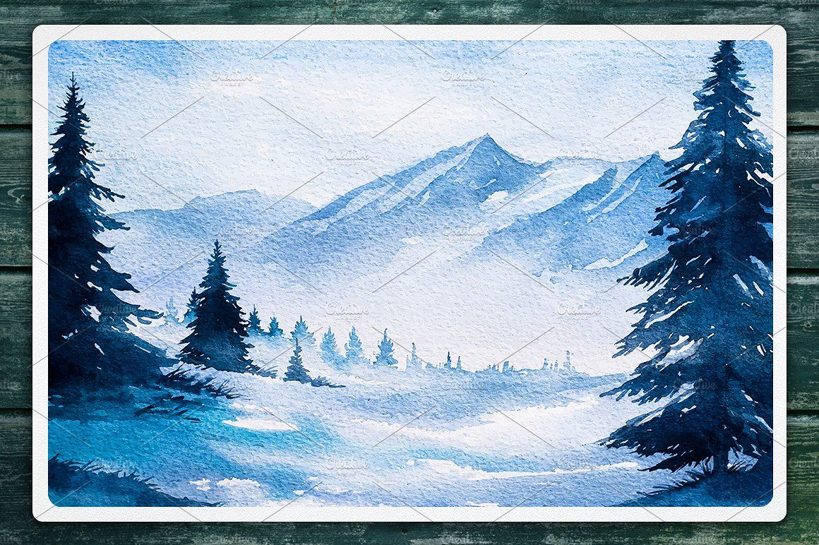 Winter Landscapes Set 2 Watercolor Suluboya Sanati Suluboya Sanat