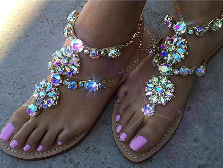 4db4f6843 Amelia Island - Women s Leather Jeweled Sandals - Mystique Sandals.  Rhinestones Chains Thong Gladiator Sandals ...