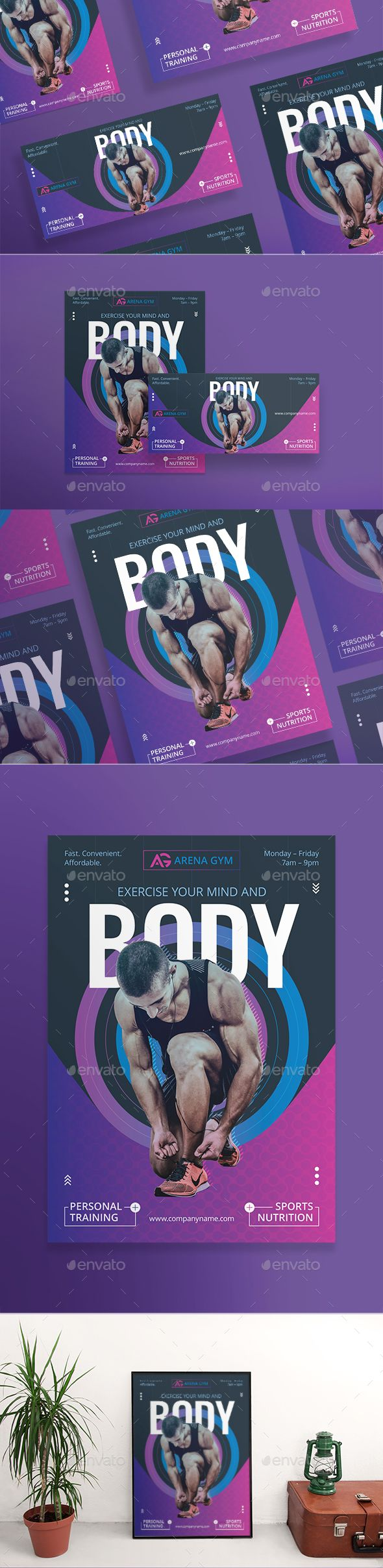 gym personal training flyer template psd vector eps