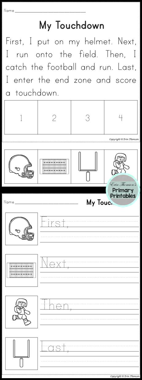 Sequencing Story First Next Then Last Team Sports Packet Kindergarten Writing Homeschool Writing First Grade Writing