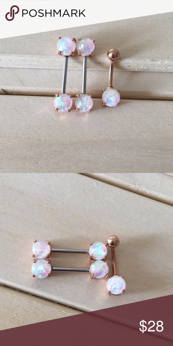 Rose Gold Opalite Nipple Belly Ring Set Boutique In 2018