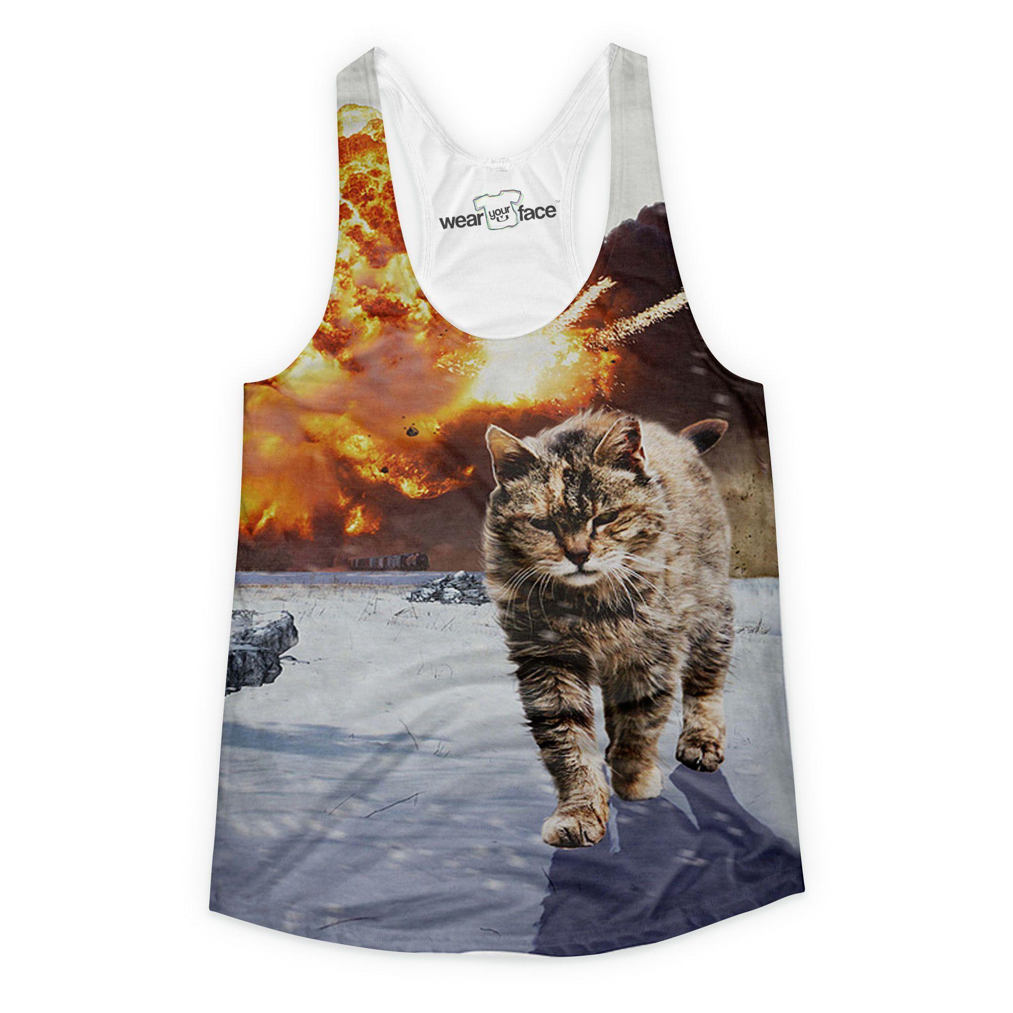 Badass Cat Explosion Girls Tank