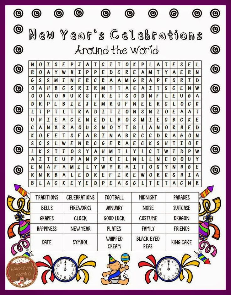Rare image with regard to new years word search printable
