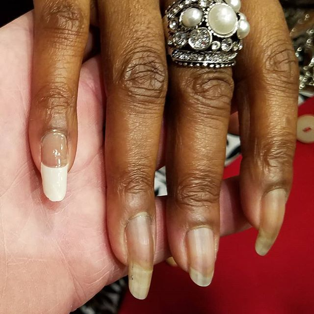 Longest natural #nails #frenchtip sample. Huge difference ...