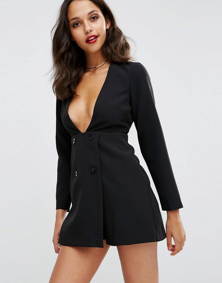 c2851e8c297 ASOS+Double+Breasted+Plunge+Playsuit