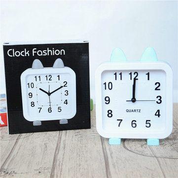 Yiwu Alarm Clock Cartoon Round Cat Ear Alarm Clock Cute Shape Clock Holiday Gift #yiwu #alarm #clock #cartoon #round #cat #ear #cute #shape #holiday #gift #garden #decor #newchic