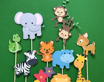Klettergerüst Clipart : Jungle animals cupcake toppers zoo wild