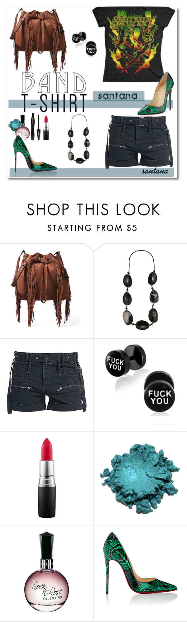 """""""Santana"""" by psyche8778 ❤ liked on Polyvore featuring Diane Von Furstenberg, Carlos by Carlos Santana, Lancôme, MAC Cosmetics, Nordstrom, Christian Louboutin, bandtshirt and bandtee"""