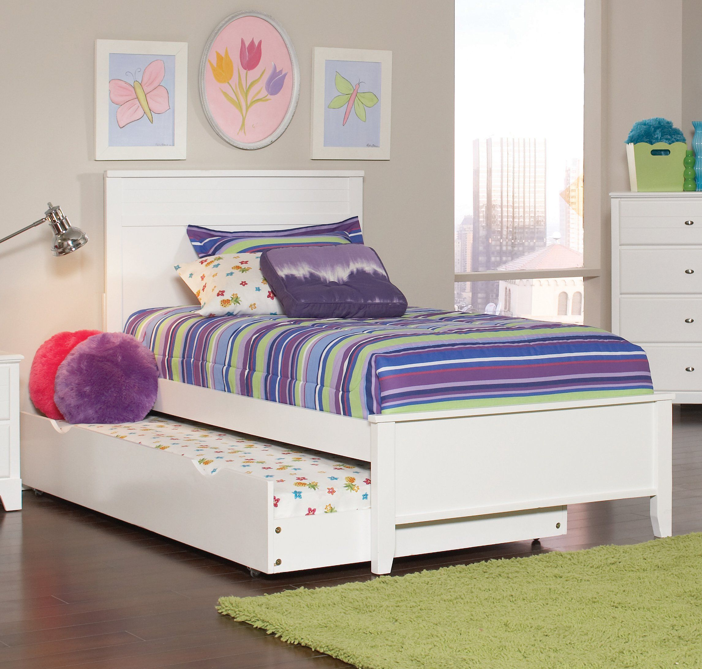Coaster Ashton White Kids Trundle Twin Bed Twin Trundle Bed