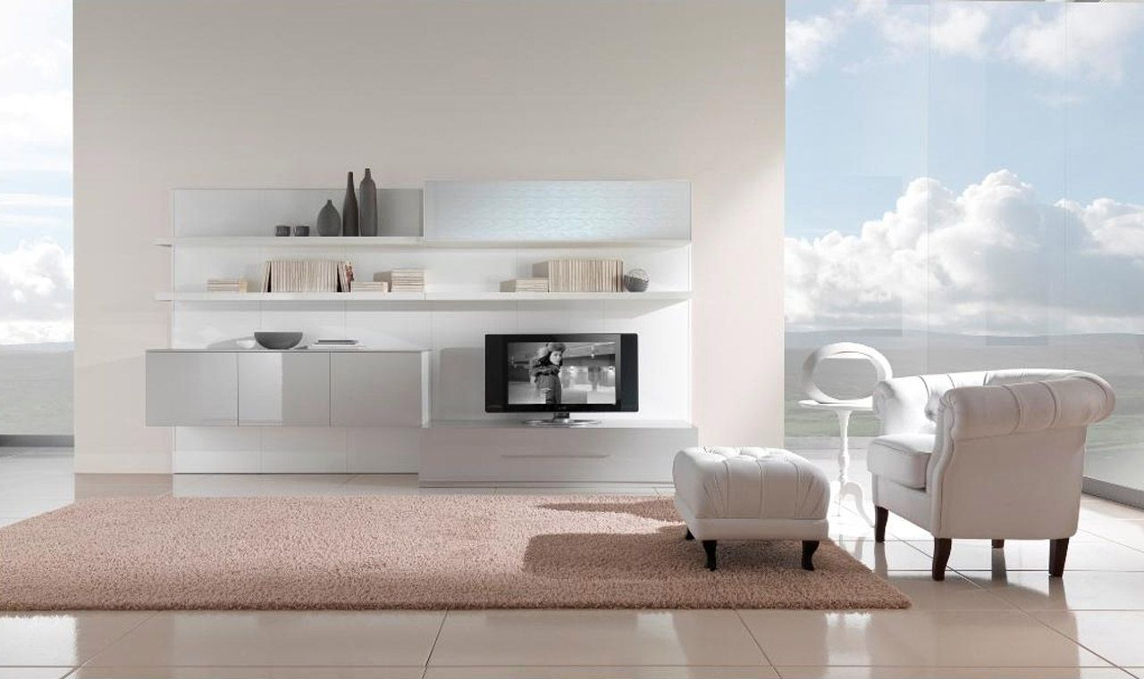 25 Awesome White Living Room Ideas | Modern tv cabinet, Living rooms ...