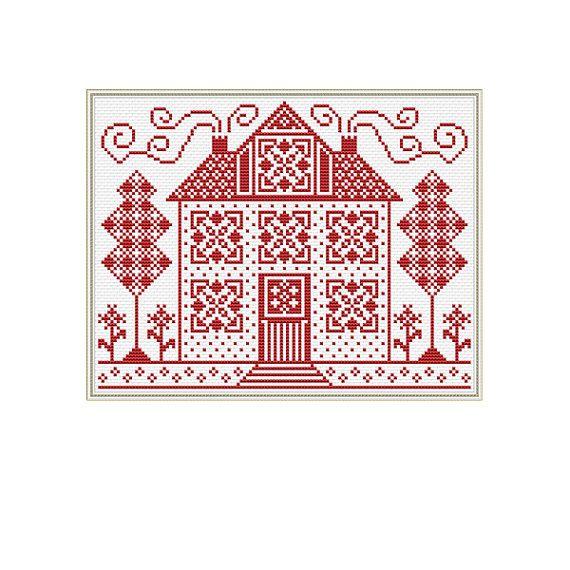 Sampler Cross Stitch Pattern Home House от ValentiCrossStitch