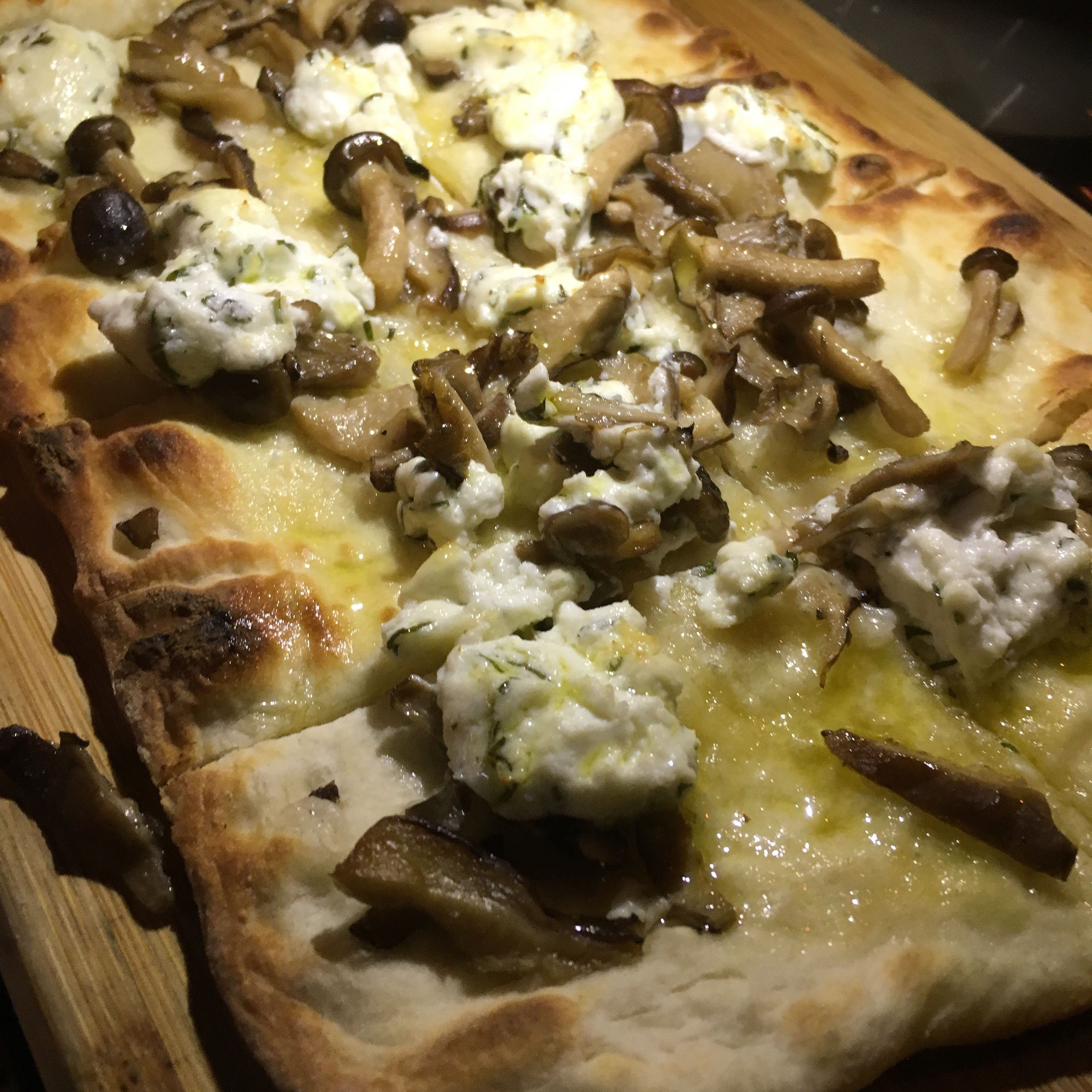 @CopperKettleNYC Copper Kettle Kitchen, Upper East Side, NYC - wild mushrooms and goat cheese flatbread drizzled with truffle oil