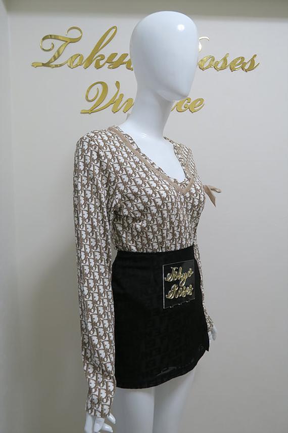 bca3ce7dc9 Christian Dior Long Sleeve Trotter Logo Monogram Print Top Velvet Bow