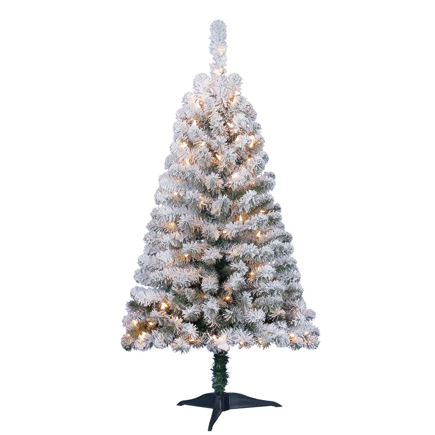 Holiday Time Pre-Lit 4\' Greenfield Flocked Pine Green ...