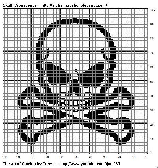 Free Filet Crochet Charts and Patterns: Filet Crochet Skull ...