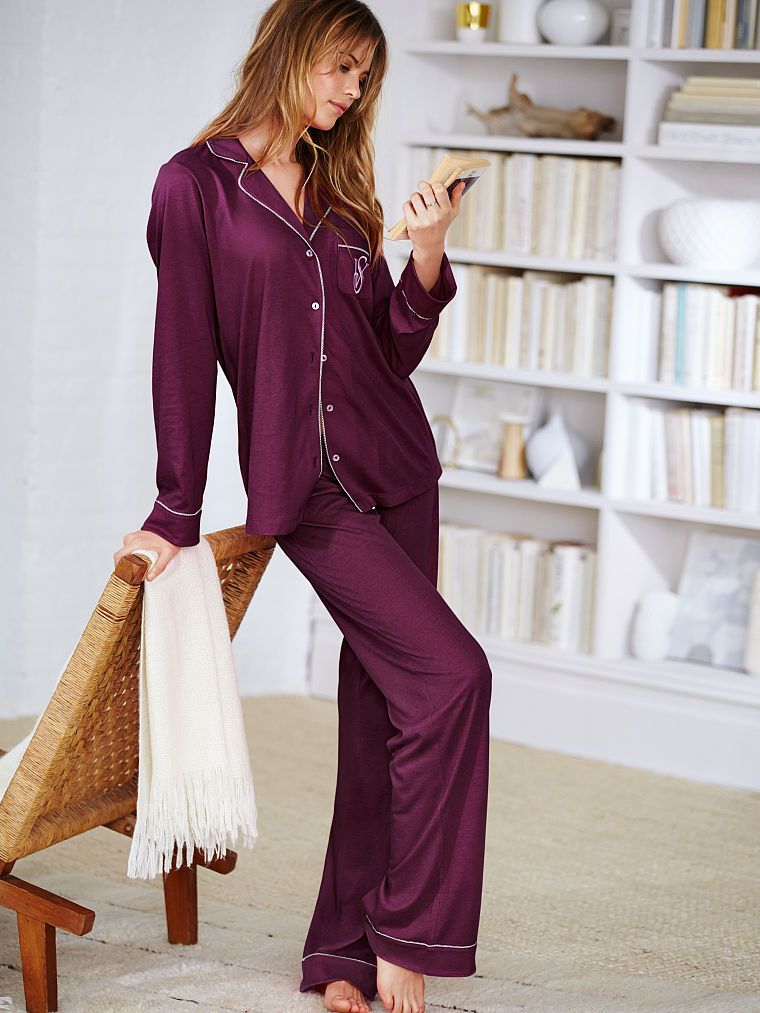 $54, ruby wine, large, short-The Sleepover Knit Pajama - Victoria's Secret