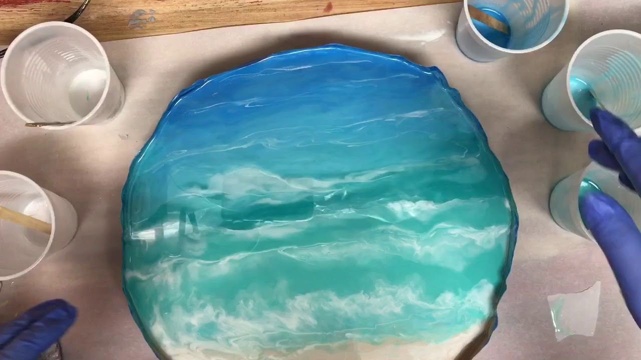 Acrylic Pour with Resin Beach Theme Wooden Tray (142