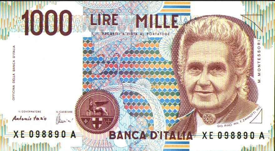 Billete Montessori 1000 Liras 1000 Lire Italia Italian Lira
