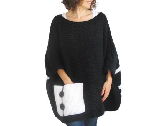 Plus Size  Over Size Sweater Black  White Hand Knitted by afra
