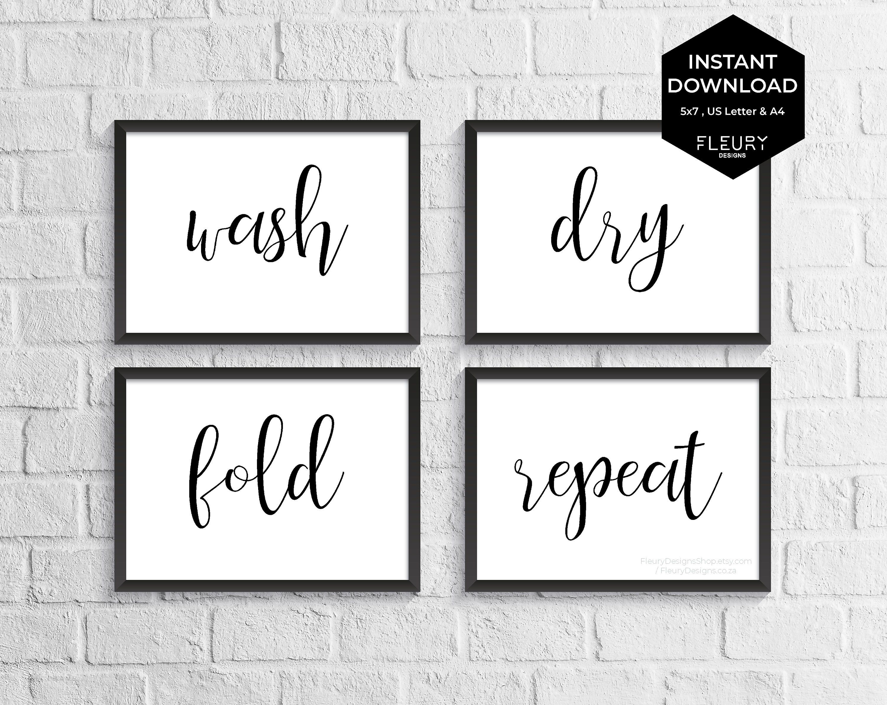 Laundry Room Printable Set Instant Download Wash Dry Fold