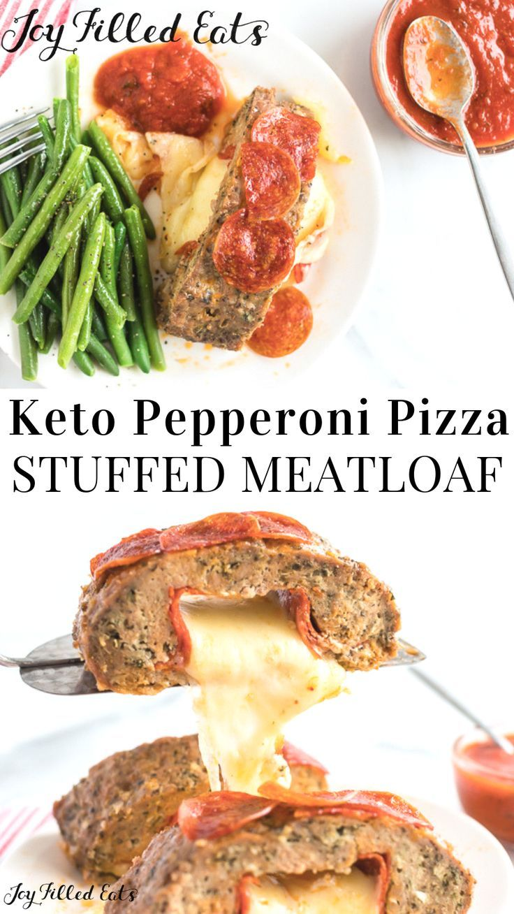 Stuffed Meatloaf with Cheese - Low Carb, Keto, Gluten-Free, Grain-Free, THM S - Ooey gooey cheese stuffed meatloaf is what your taste buds dream about at night. Every bite is filled with an explosion of Italian flavors, cheese, and pepperoni.