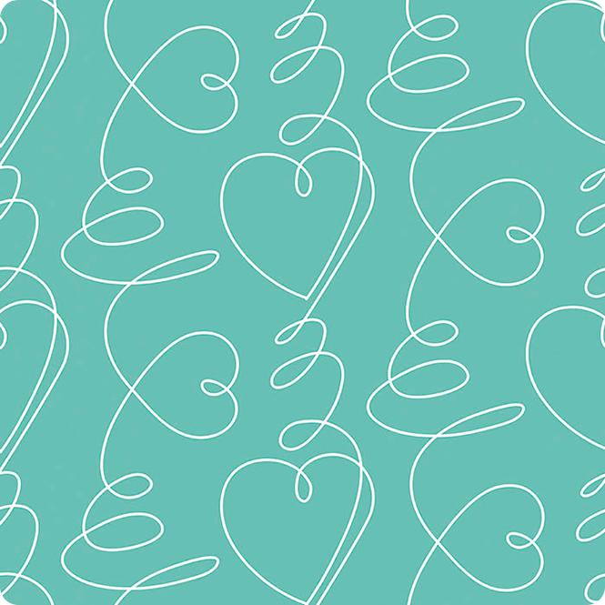 Grandes corações brancos numa base menta turquesa largura 140cm 10 euros /m