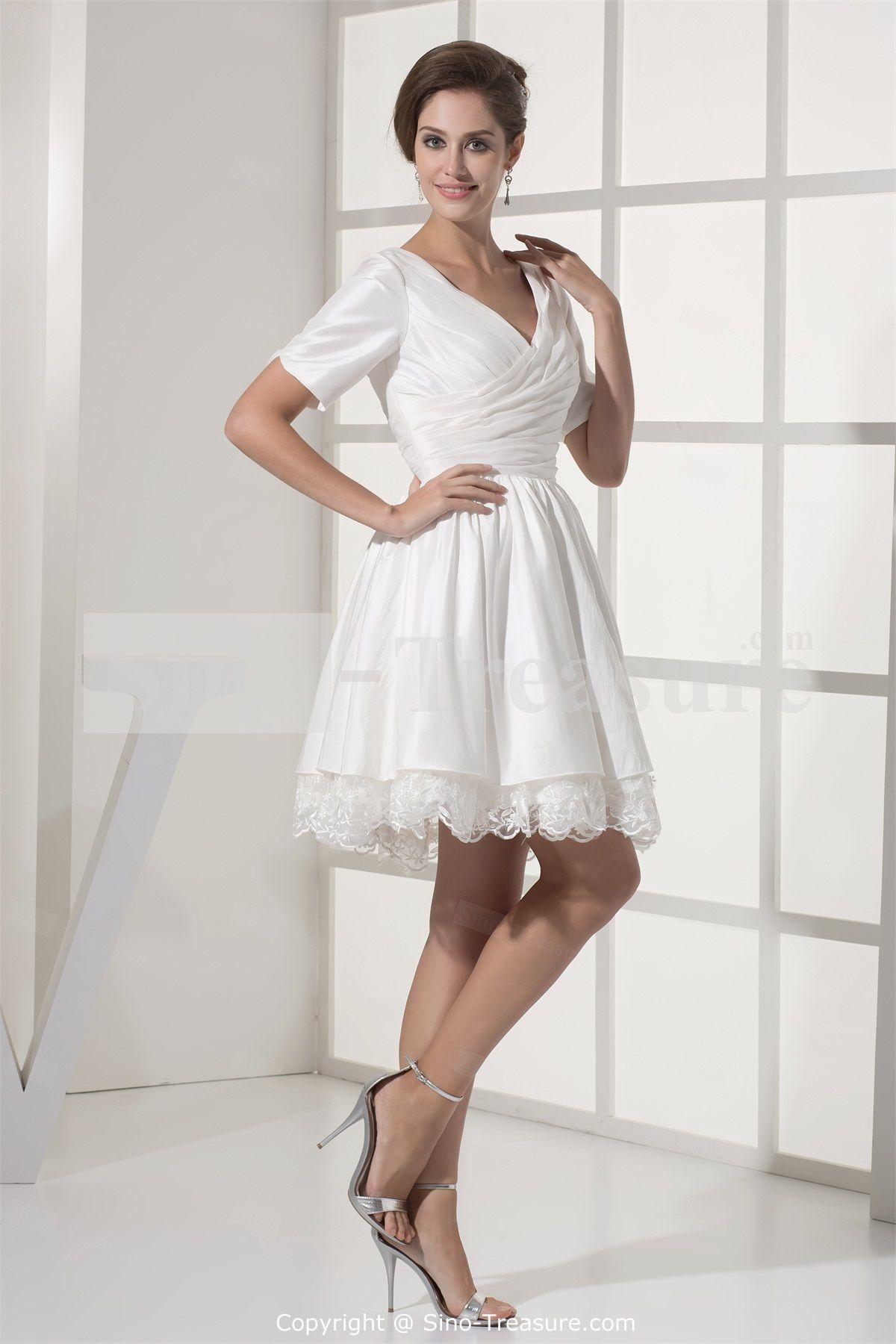 White ALine Taffeta Vneck Short Reception Wedding Dress