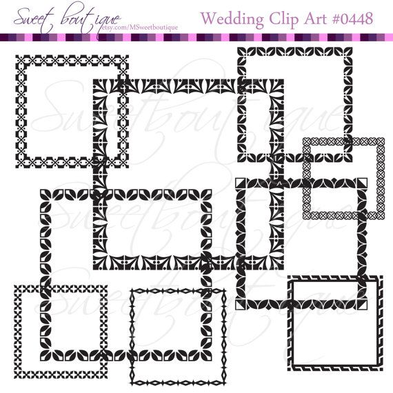 Rectangle BLACK Ornate Frame Victorian Frames Clip Art Silhouette Design Wedding Bridal Photographer Frames 0448