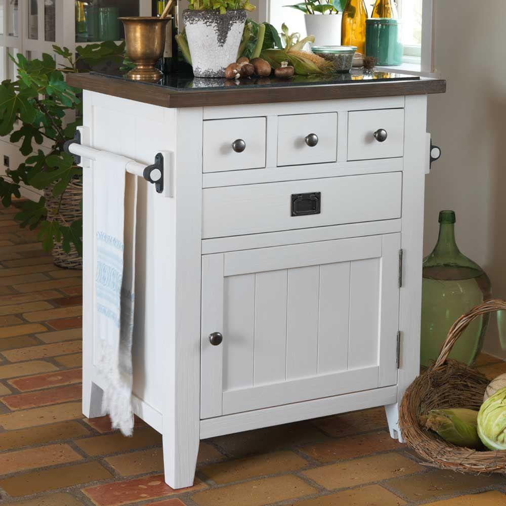se nostalgische küchenkommode in braun weiß aus kiefer massiv