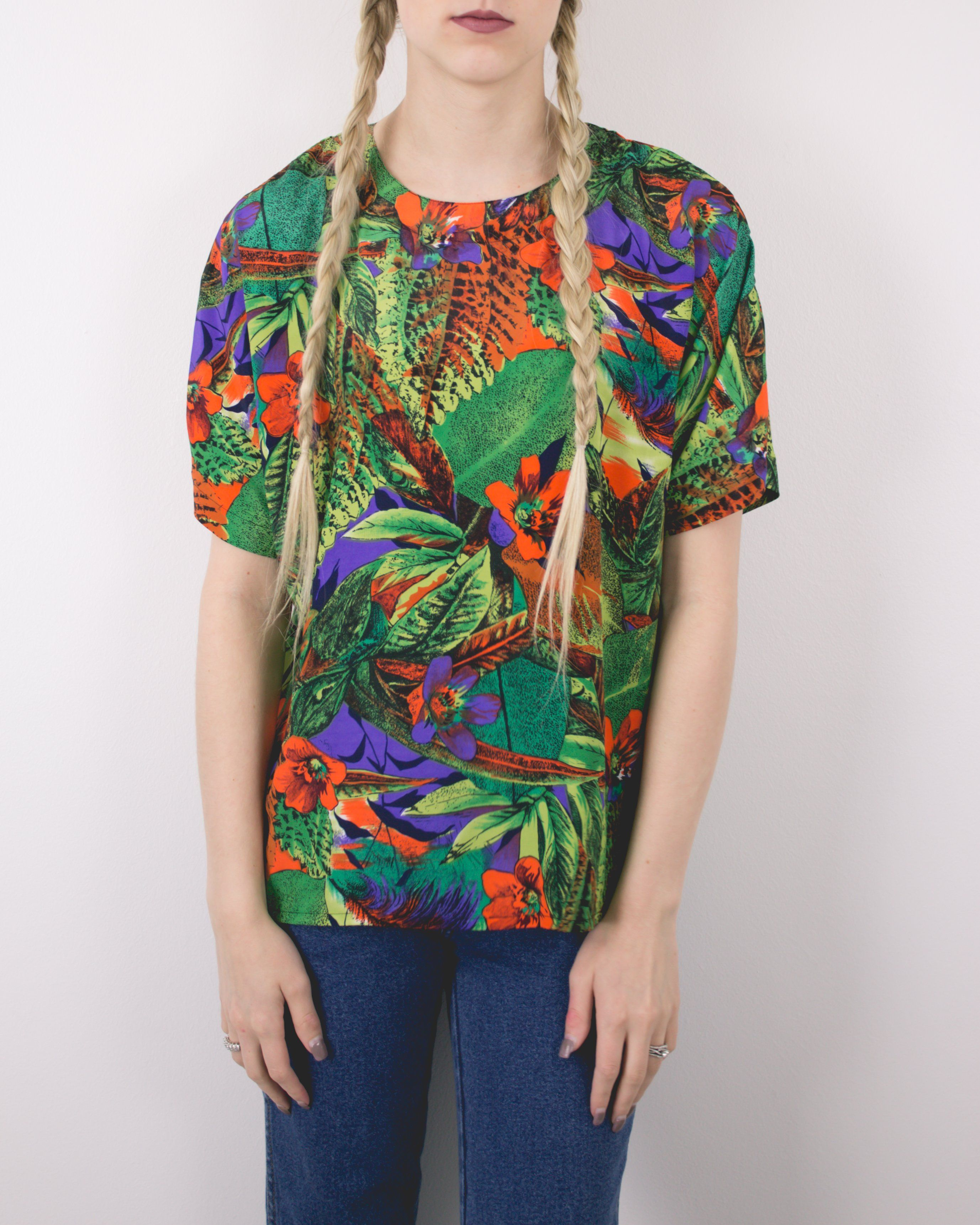 97923a2c Vintage 80s Floral Tropical Hawaiian Blouse | Products | Blouse ...
