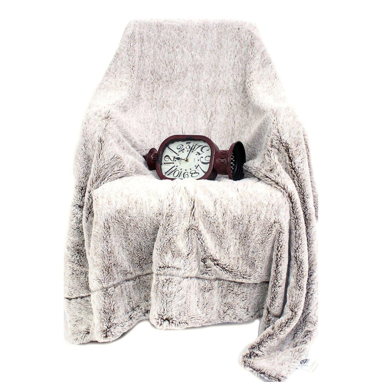 Ac pacific luxury soft faux fur reversible fleece blanket brown