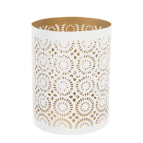 Bougeoir en métal blanc ANOKHI | Maisons du Monde | Home Decor ...